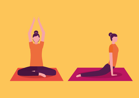 yoga activity  woman stretching arms body forward vector illustration