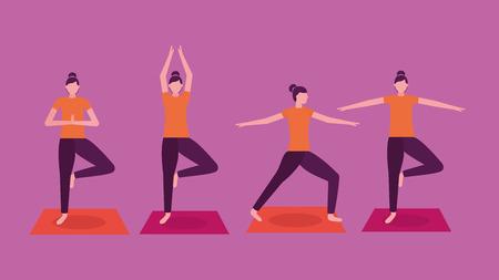 collage, mujer, yoga, actividad, pasos, vector, ilustración