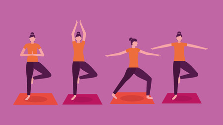 collage woman yoga activity  steps vector illustration
