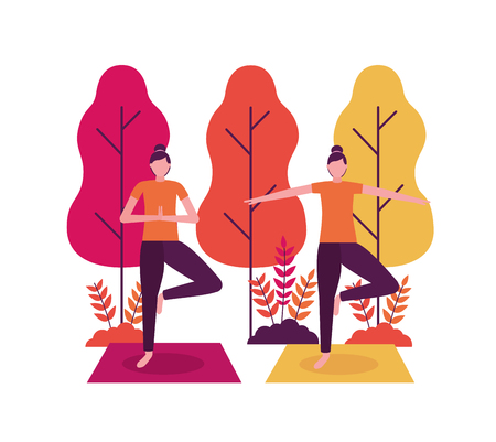 yoga activity  relax body outdoor park vector illustration