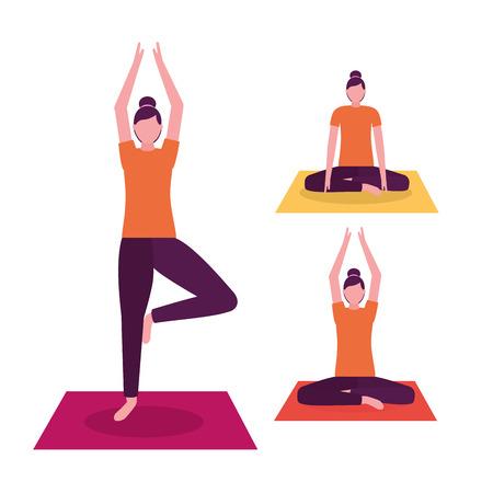 actividad de yoga fresco relajarse ilustración de vector de mujer