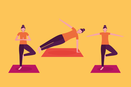 women relax yoga activity with mat vector illustration