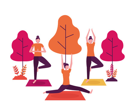 park women body yoga activity vector illustration Illustration