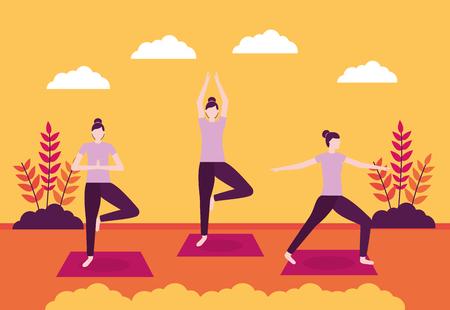 fresh woman enjoy outdoor yoga activity vector illustration