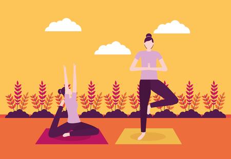 plants outdoor woman doing yoga activity vector illustration Ilustração