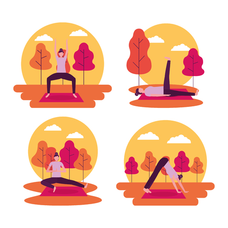 stickers woman doing outdoor yoga activity vector illustration Foto de archivo - 126820005