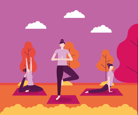 yoga activity tree plants outdoor park woman collage exercises vector illustration