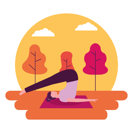woman doing yoga activity stretching body vector illustration