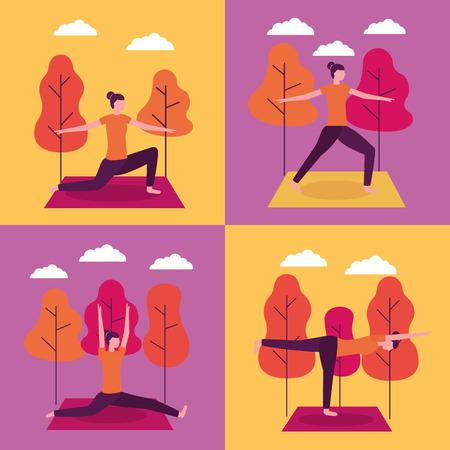 banners sunset outdoor park woman doing yoga activity vector illustration Иллюстрация
