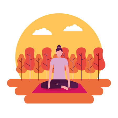 sticker park woman sitting yoga activity vector illustration