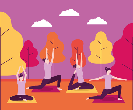 yoga activity woman collage doing stretching body vector illustration Illustration