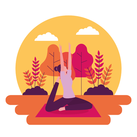 woman stretching arms up yoga activity vector illustration