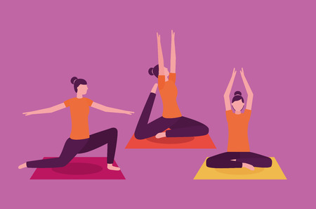 yoga activity  relax woman stretching body vector illustration