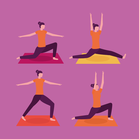 woman steps collage yoga activity  vector illustration