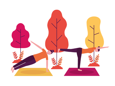 yoga activity  park woman stretching body vector illustration Archivio Fotografico - 113813017