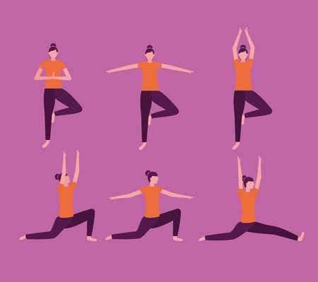 relax body woman yoga activity  vector illustration
