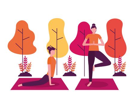 Parque mujer relajarse cuerpo yoga actividad ilustración vectorial