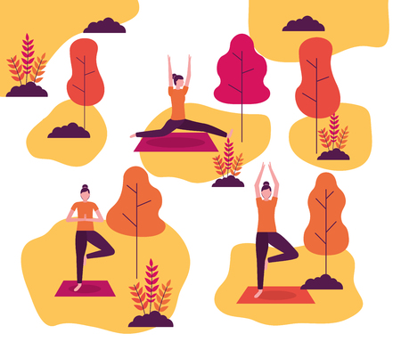 yoga activities woman collages stretching body relax vector illustration