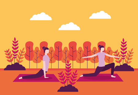 yoga activity plants outdoor park woman relax vector illustration