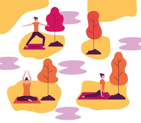 yoga activity sticker collages woman relaxation body vector illustration Ilustração