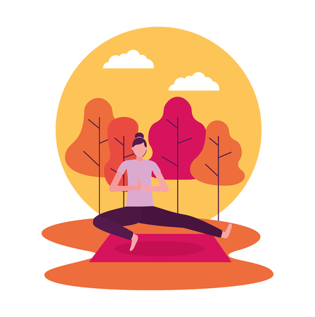 sticker sunset park woman yoga activity vector illustration