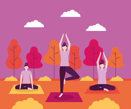 yoga activity trees park outdoor woman relaxation vector illustration