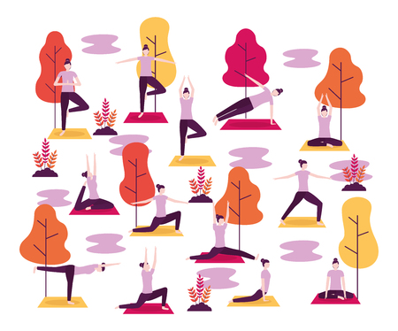 collage park woman doing yoga activities vector illustration