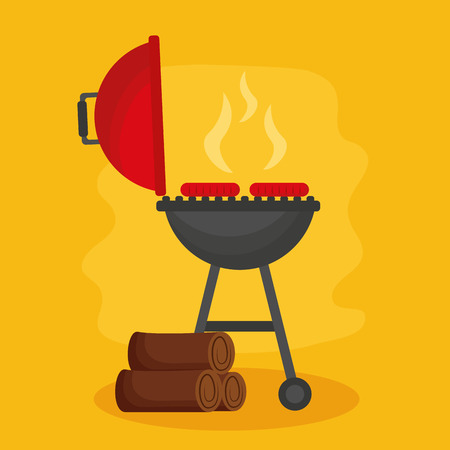 barbecue grill firewood grill sausages vector illustration