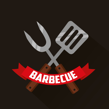 barbecue fork spatula ribbon prepare vector illustration