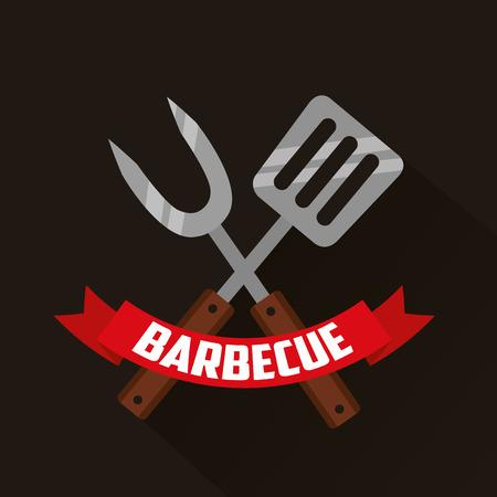 barbecue fork spatula ribbon prepare vector illustration