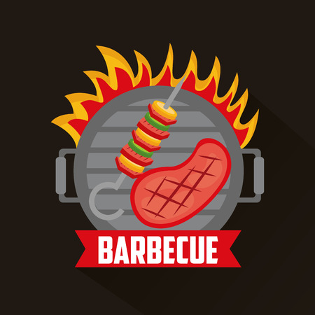 barbecue grill fire meat delicious ribbon vector illustration
