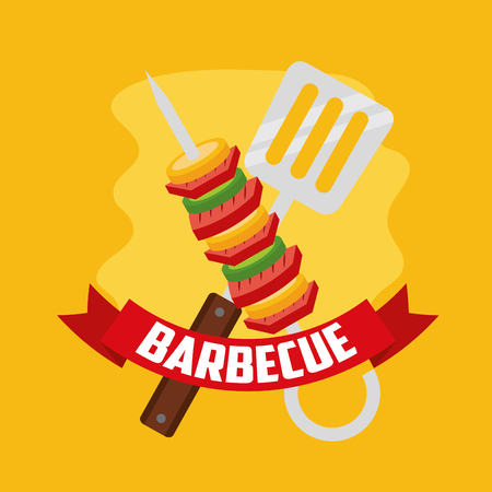 delicious skewers  spatula barbecue ribbon vector illustration