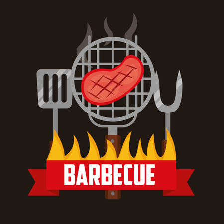 barbecue grill meat fork spatula fire vector illustration  イラスト・ベクター素材