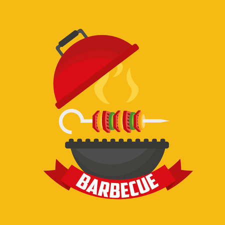 open barbecue grill skewers  ribbon vector illustration