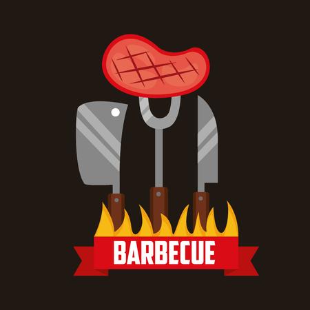 barbecue knifes meat fork fire ribbon vector illustration Archivio Fotografico - 126820024