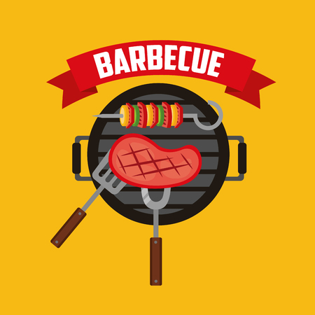 barbecue meat fork spatula grill ribbon vector illustration