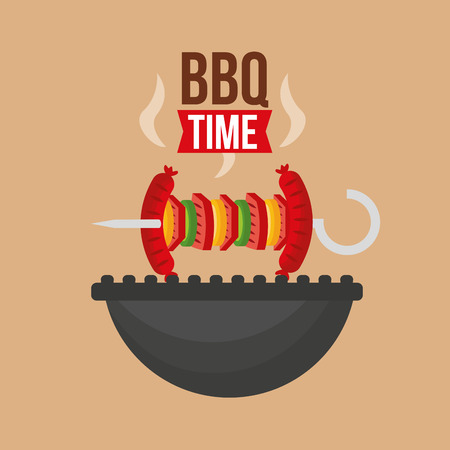delicious skewers sausage barbecue grill vector illustration
