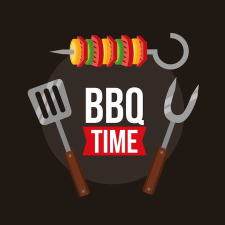 barbecue skewers  fork spatula bbq time vector illustration