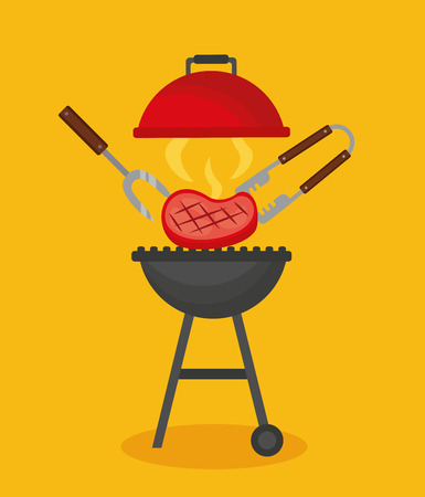 barbecue tongs fork meat grill vector illustration Archivio Fotografico - 126820027