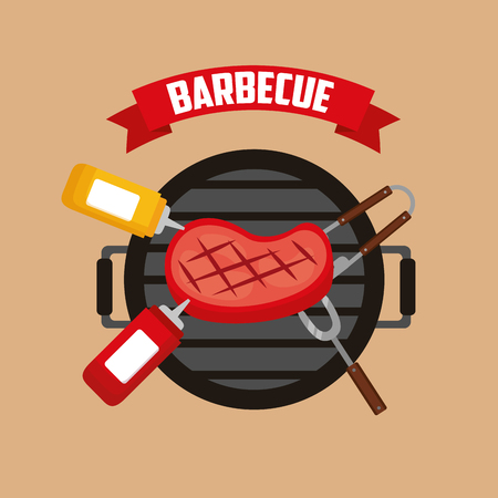 grill meat tongs sauces fork barbecue vector illustration