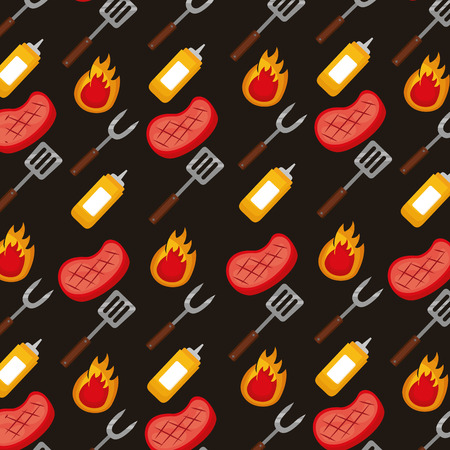 sauces forks spatulas meat and fire background vector illustration