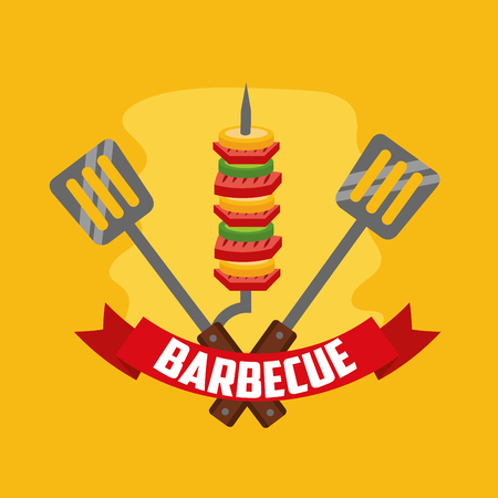 delicious barbecue ribbon spatulas skewers  vector illustration Illustration