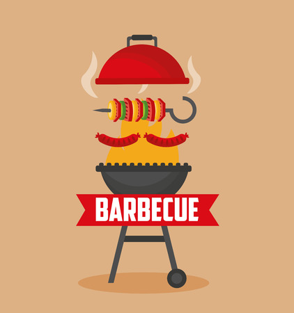 open grill fire skewers  barbecue sausages vector illustration Иллюстрация