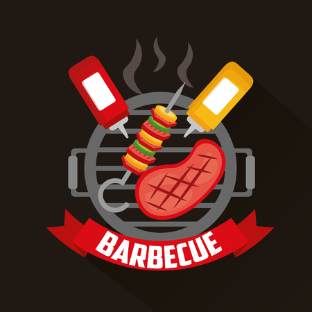 barbecue sauces meat skewers  grill vector illustration