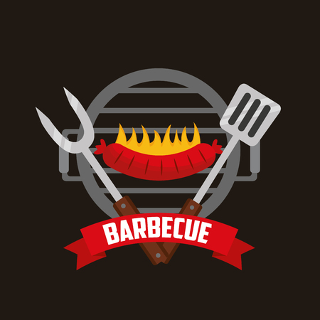 fork spatula grill fire sausages barbecue vector illustration