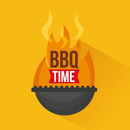 grill fire bbq time barbecue vector illustration Illustration