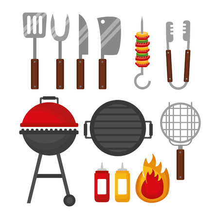 barbecue utensils skewers grill fire sauces vector illustration