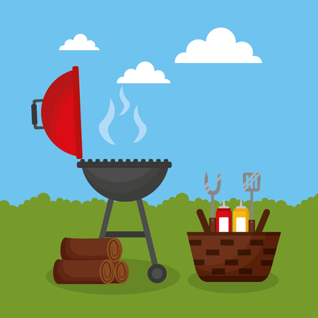 barbecue grill outdoor firewood basket sauces utensils vector illustration