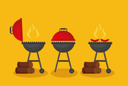 barbecue grills firewood sausages hot vector illustration 写真素材 - 126820036
