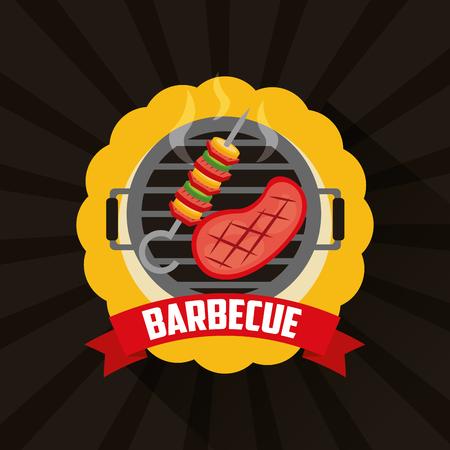 sticker grill hot meat brochette barbecue vector illustration